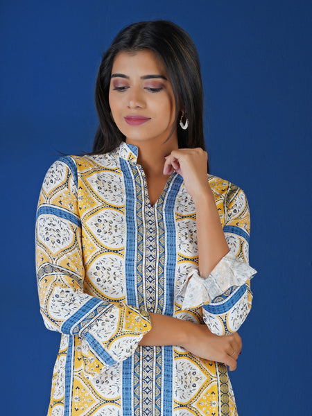 Abstract Floral Tile Printed Kurta with Frilled Sleeves