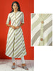 Bias Woven Striped Kurta - Off White & Lime Green