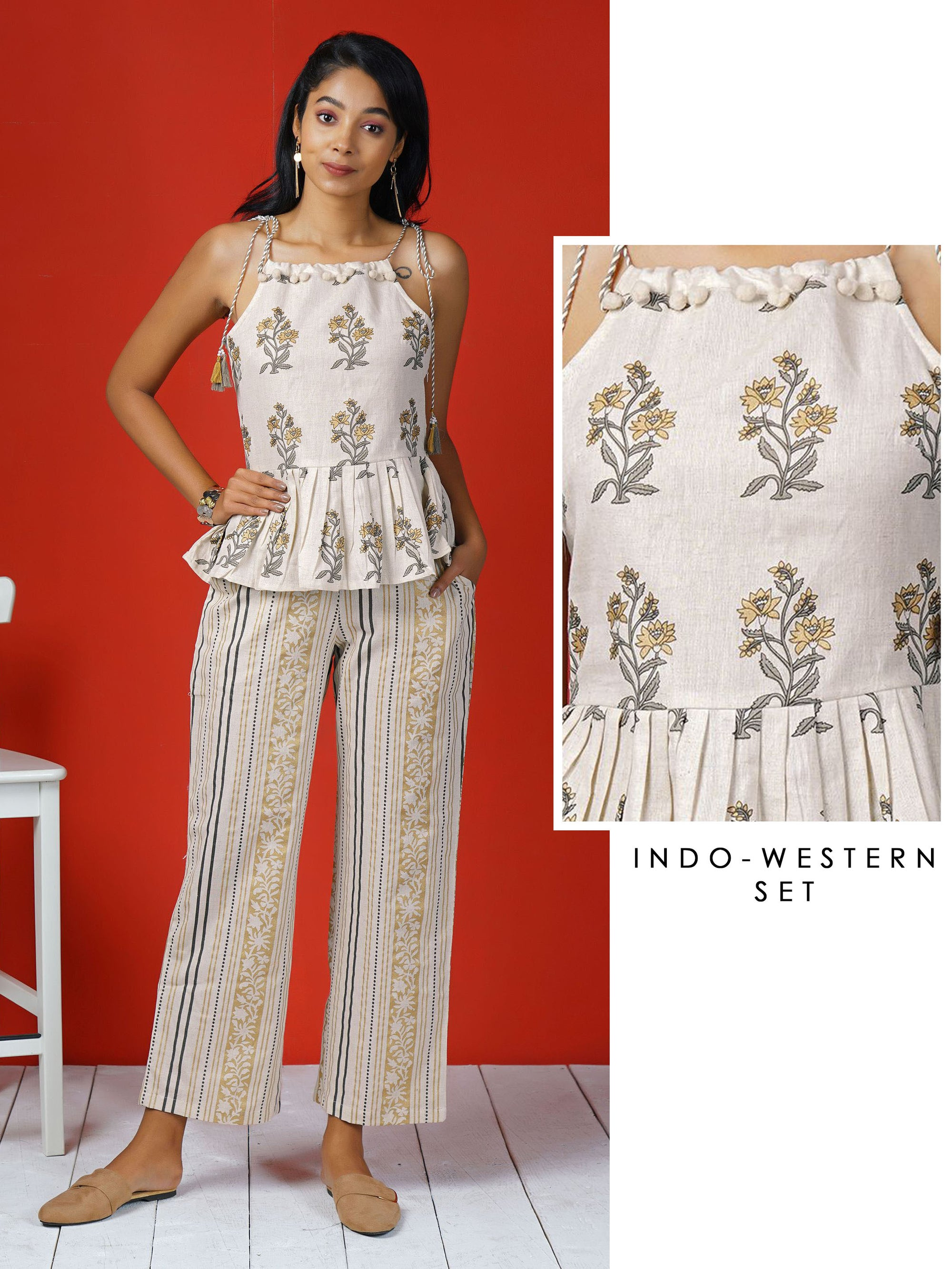 Dori Tie-up Khadi Print Peplum Cotton Top & Khadi Print Striped Pants Set