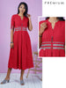Striped Dotted & Gold Metal Coins Studded Kurta - Red