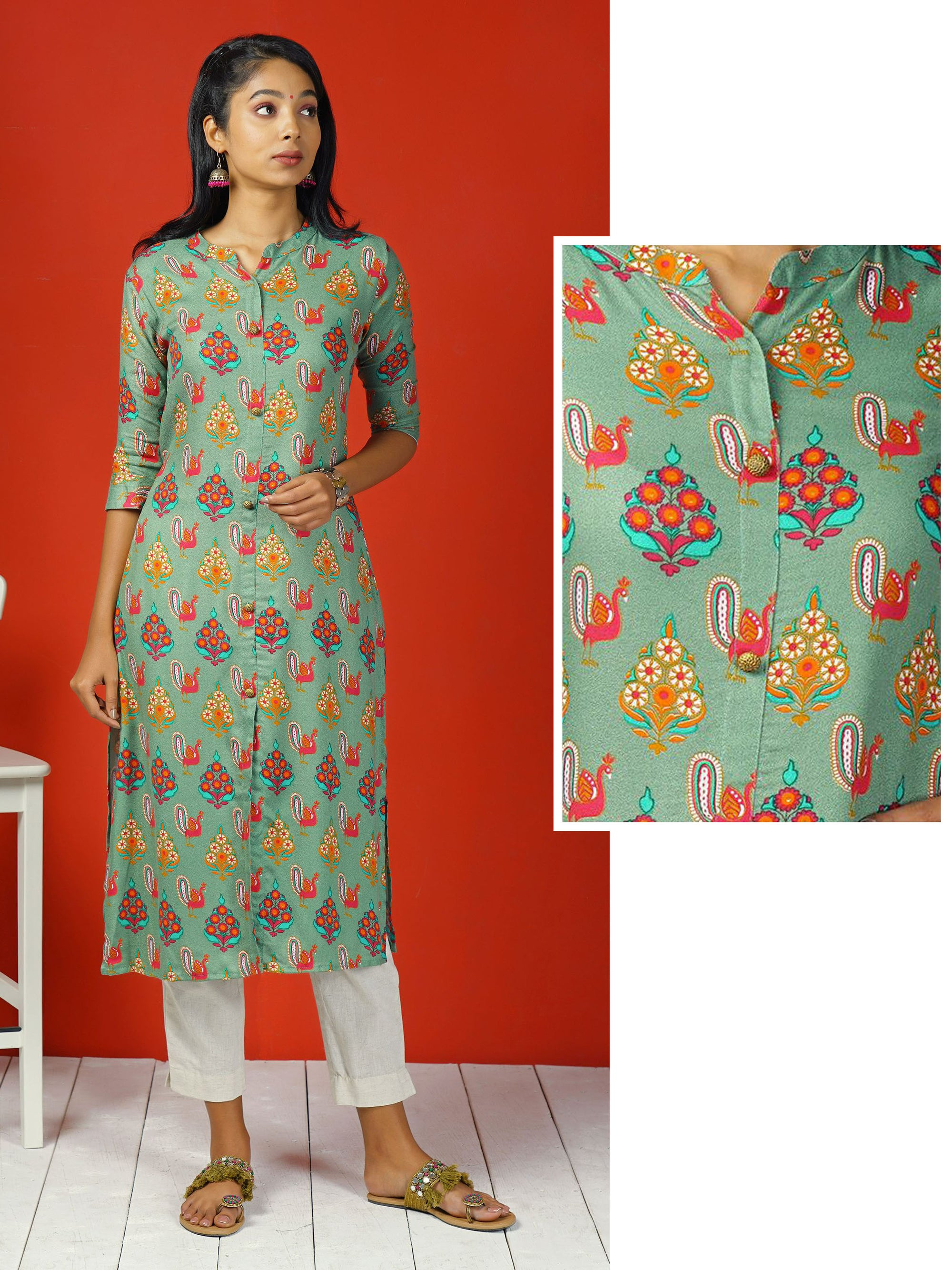Abstract Ethnic Floral & Bird Printed Kurta