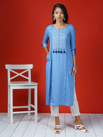 Embroidered , Tasseled & Panelled Kurta - Cobalt Blue
