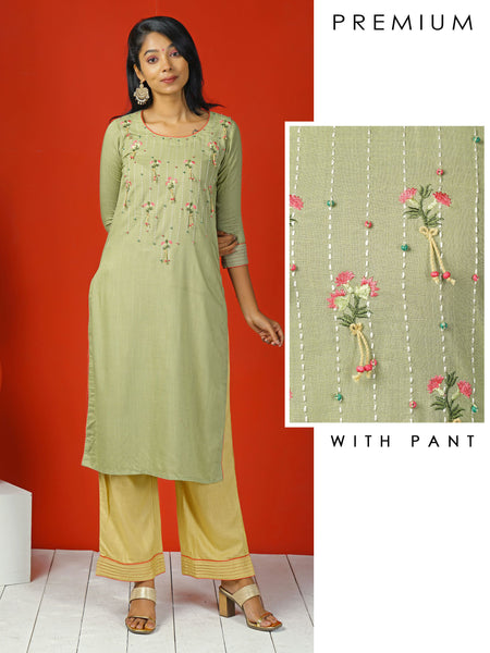 Abstract Embroidered Floral & Running Stitchwork Kurta with Pant Set - Lime Green