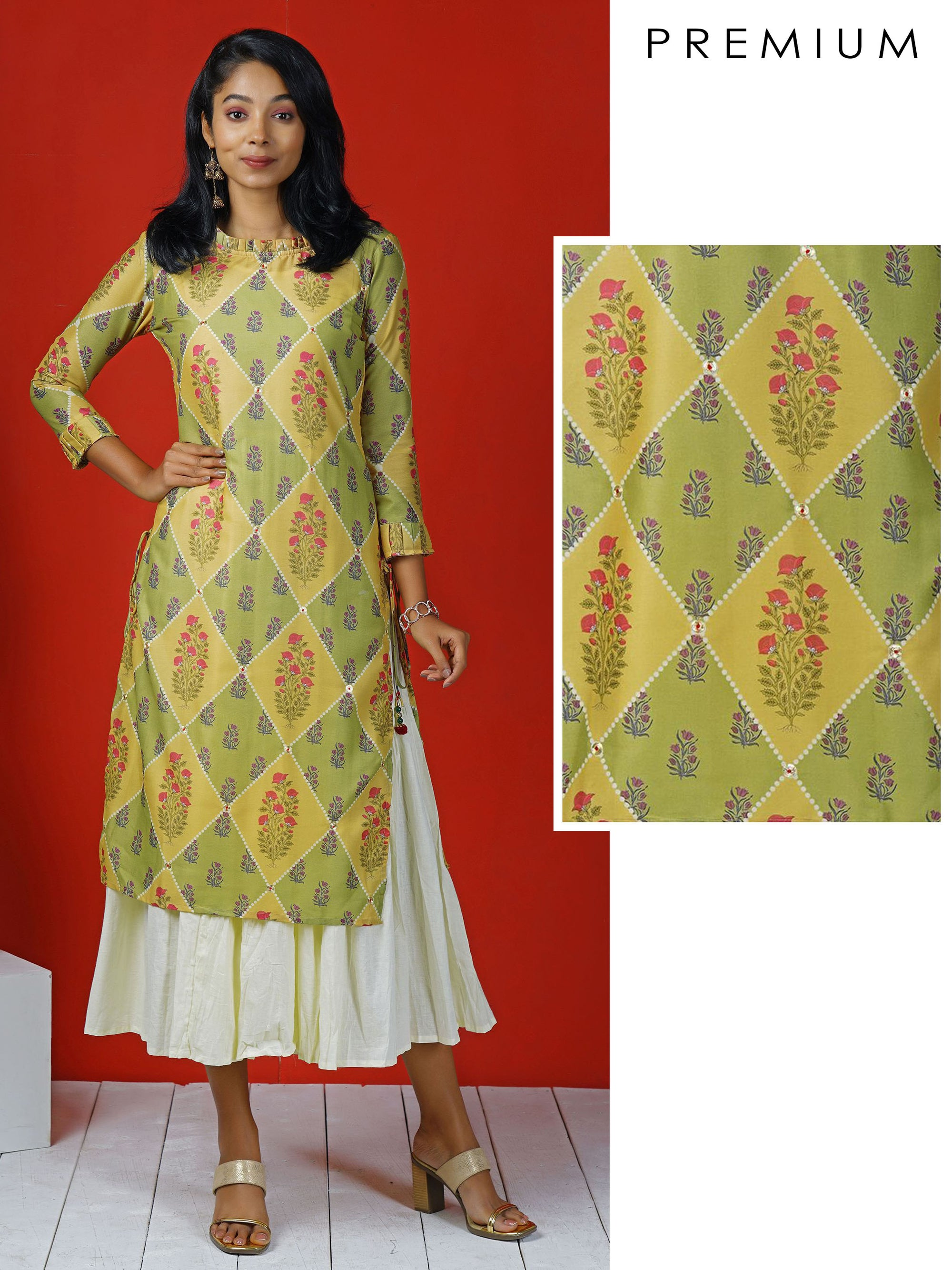 Geometric Floral Printed, Embroidered & Layered Kurta