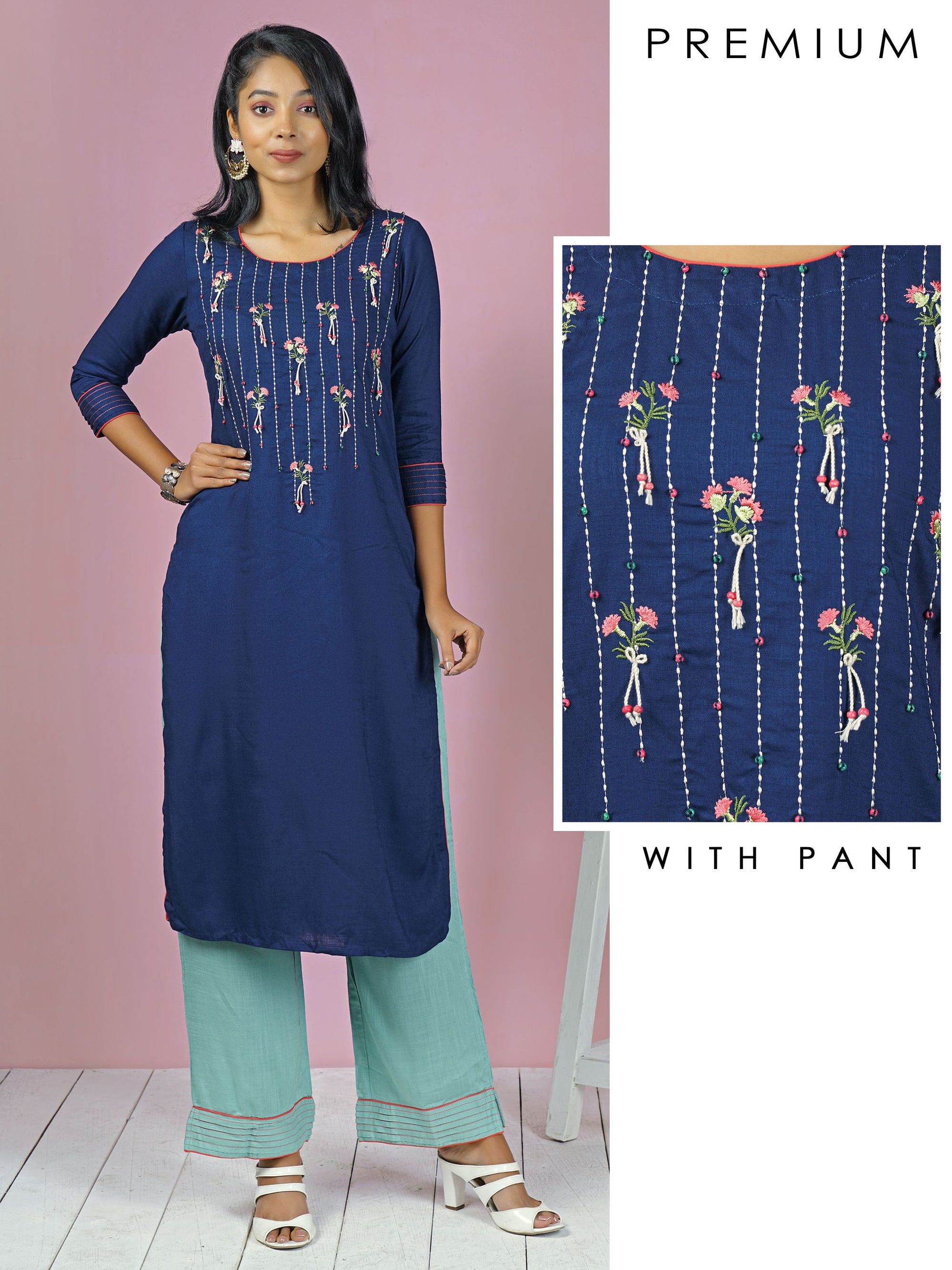 Abstract Embroidered Floral & Running Stitchwork Kurta with Pant Set - Navy Blue