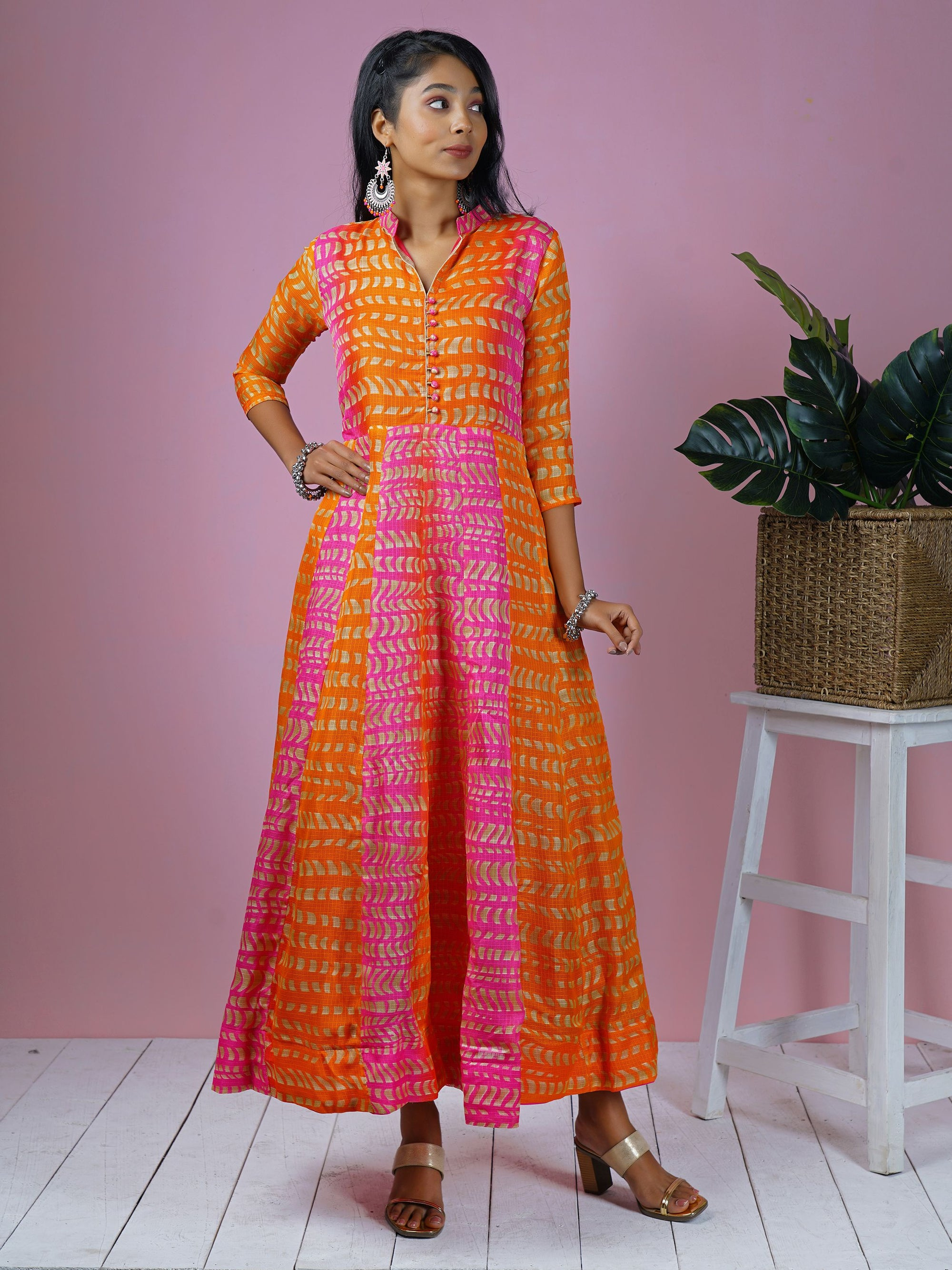Abstract Geometric Printed & Panelled Kurta
