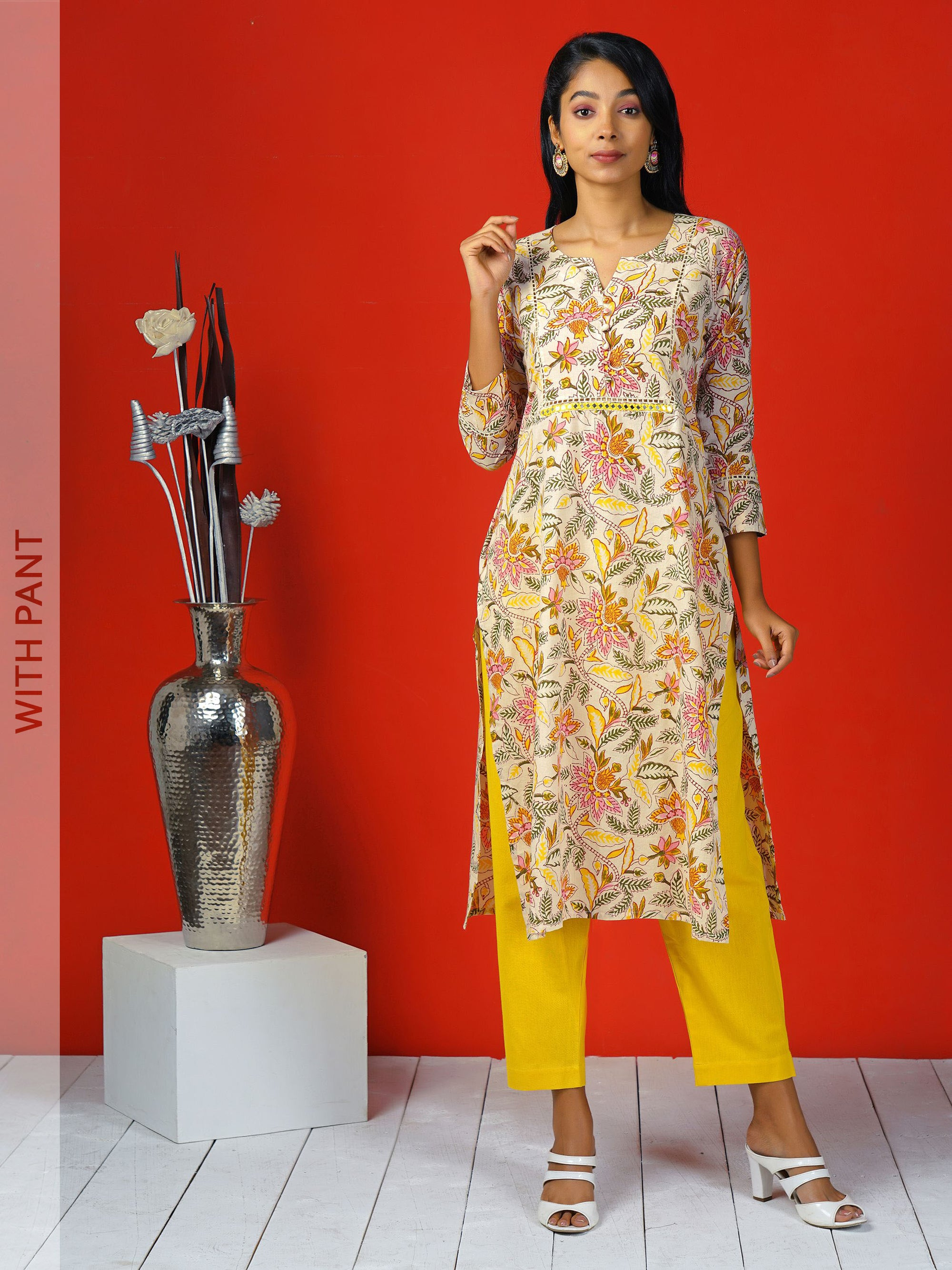 Handblock Printed Cotton Kurti & Pant Set