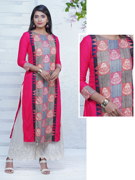 Abstract Floral Geometric Embroidered & Printed Kurta - Dark Pink