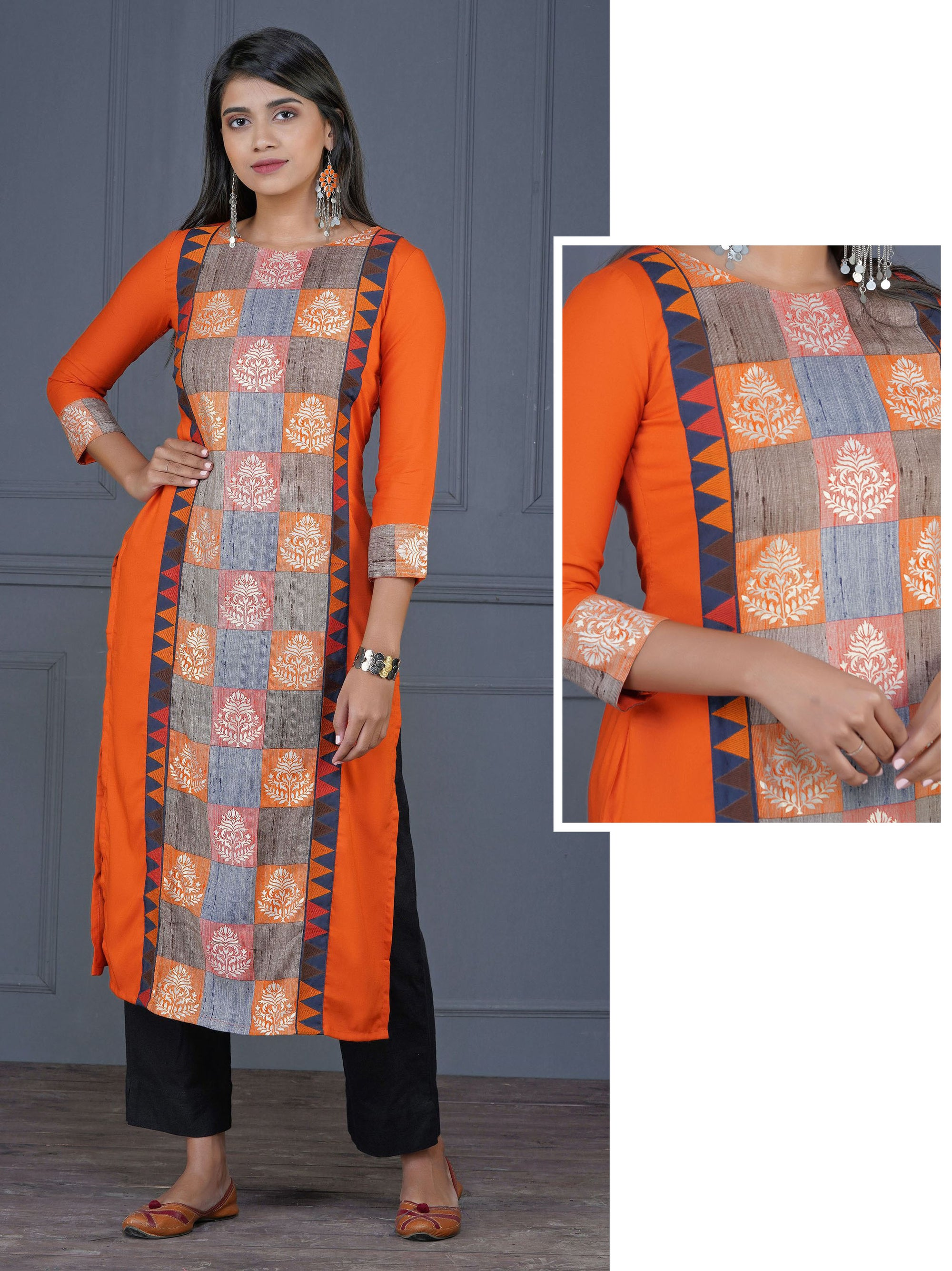 Abstract Floral Geometric Embroidered & Printed Kurta - Orange