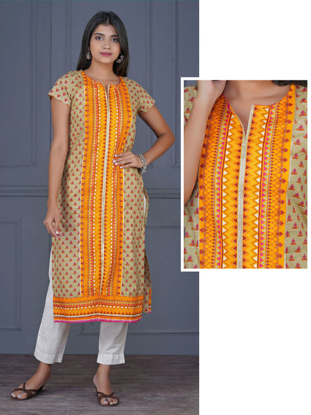Abstract Floral & Geometric Printed Kurta