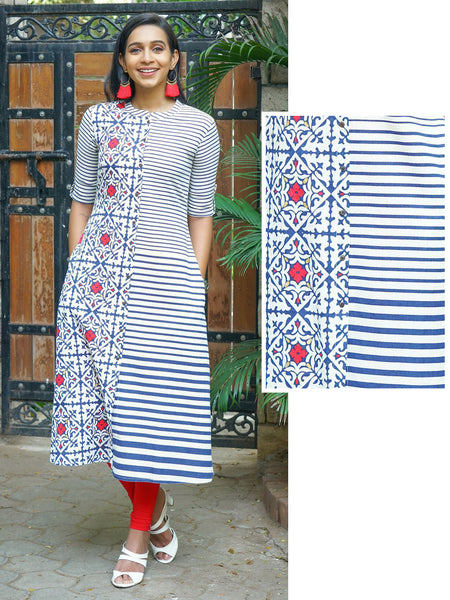 Abstract Geometric Floral Tile Printed & Striped Kurta