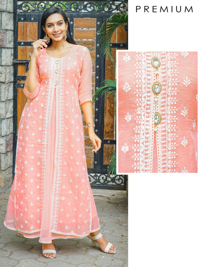 Ethnic Embroidered, Crystal Brooch Studded & Layered Kurta