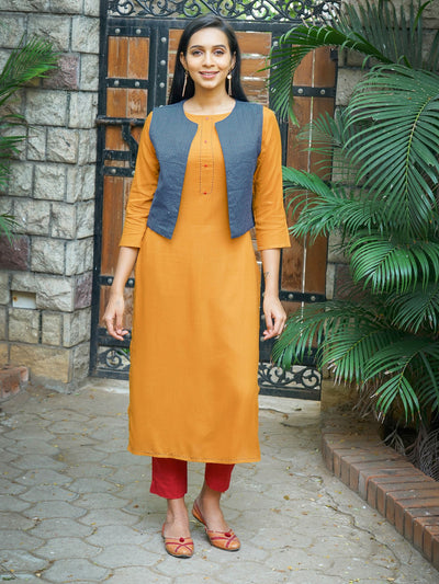 Running Stitch Work Kurta with Reversible Embroidered Arrow Waistcoat - Yellow