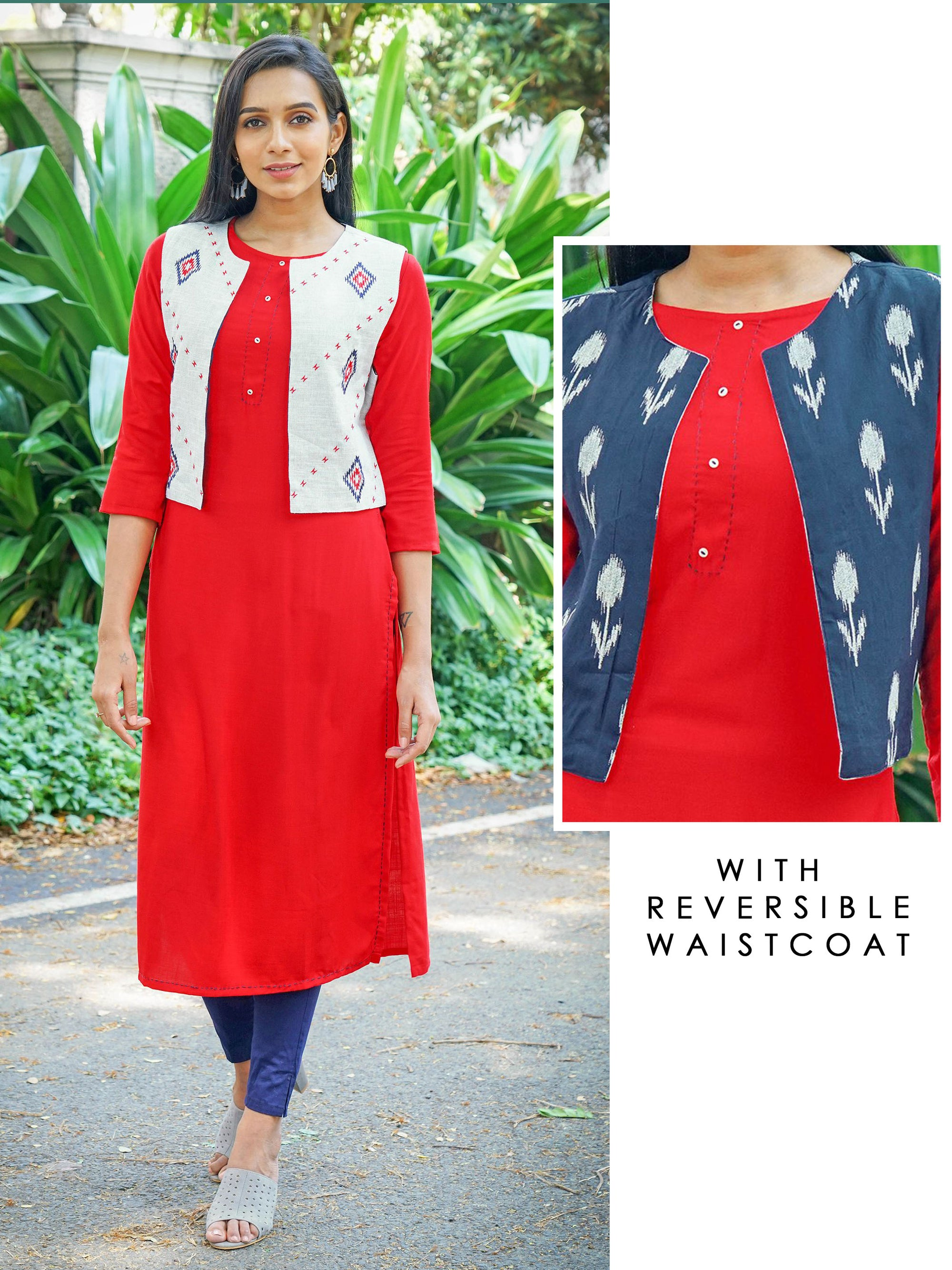 Running Stitch Work Kurta with Reversible Geometric Embroidered Waistcoat - Red