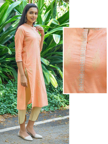 Ethnic Printed & Embroidered Dobby Woven Kurta – Peach Pink