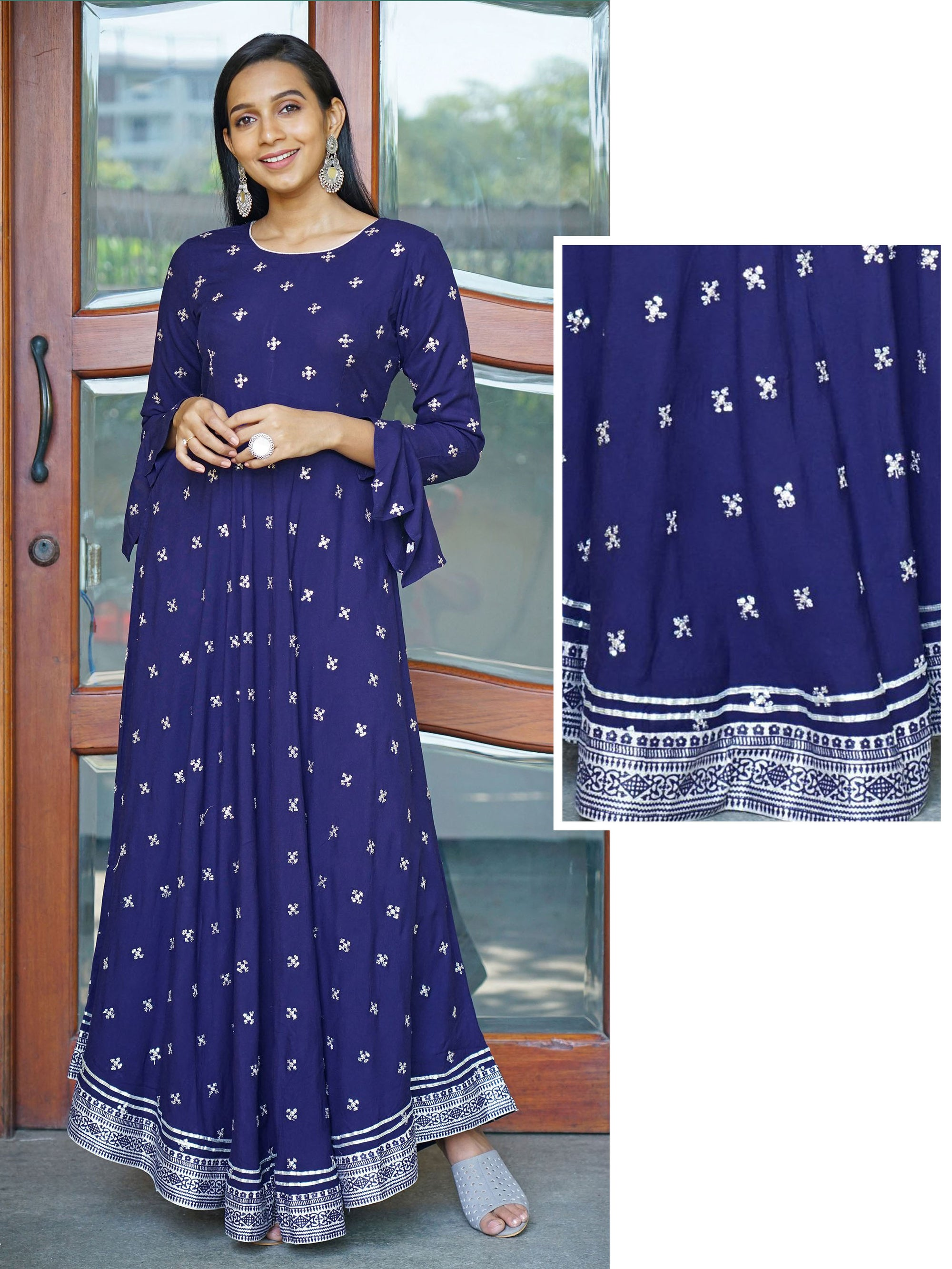 Asymmetrically Flared Sequin & Zari Embroidered Kurta - Navy Blue