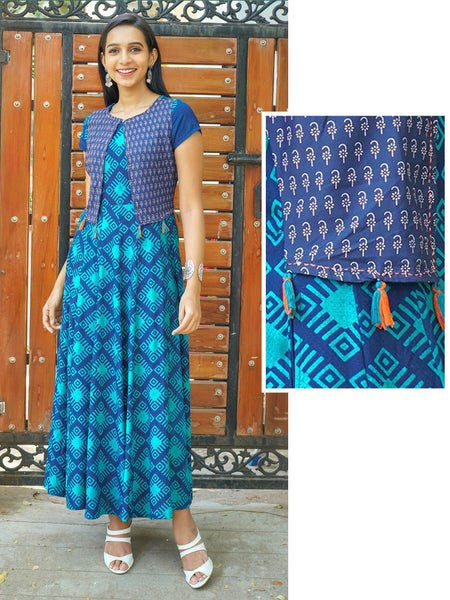 Abstract Geometric Printed Kurta with Floral Printed Stitched Shrug