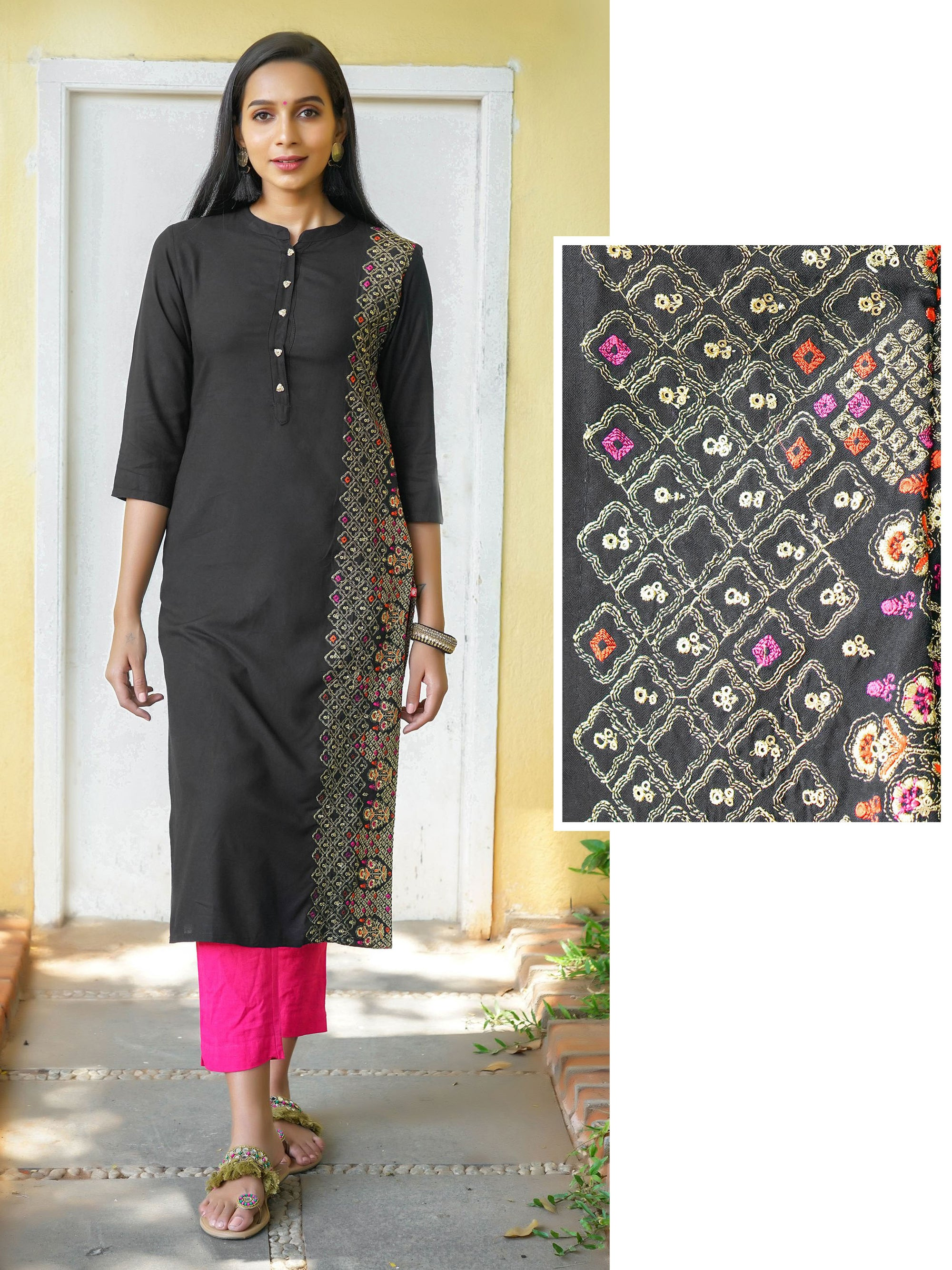 Floral Zari & Sequin Work, Placement Embroidered Kurta - Black