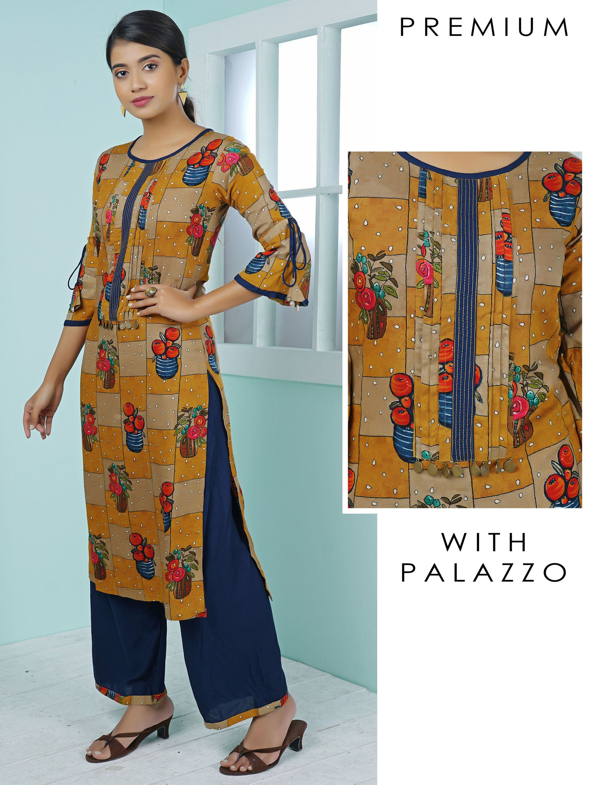 Coin Tikki Work Blind Tucks Printed Kurti & Palazzo Set – Ochre