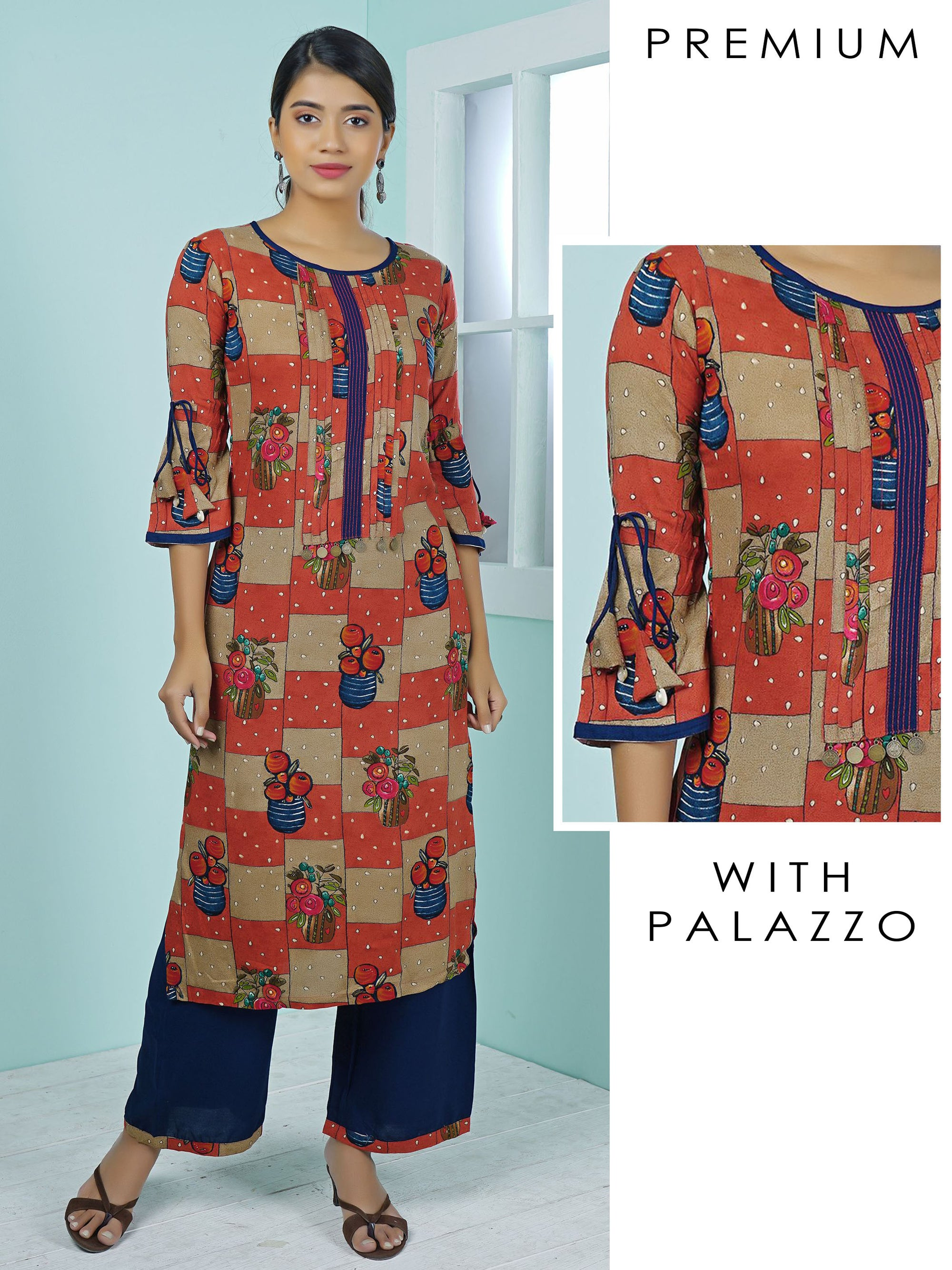 Coin Tikki Work Blind Tucks Printed Kurti & Palazzo Set – Coral Red