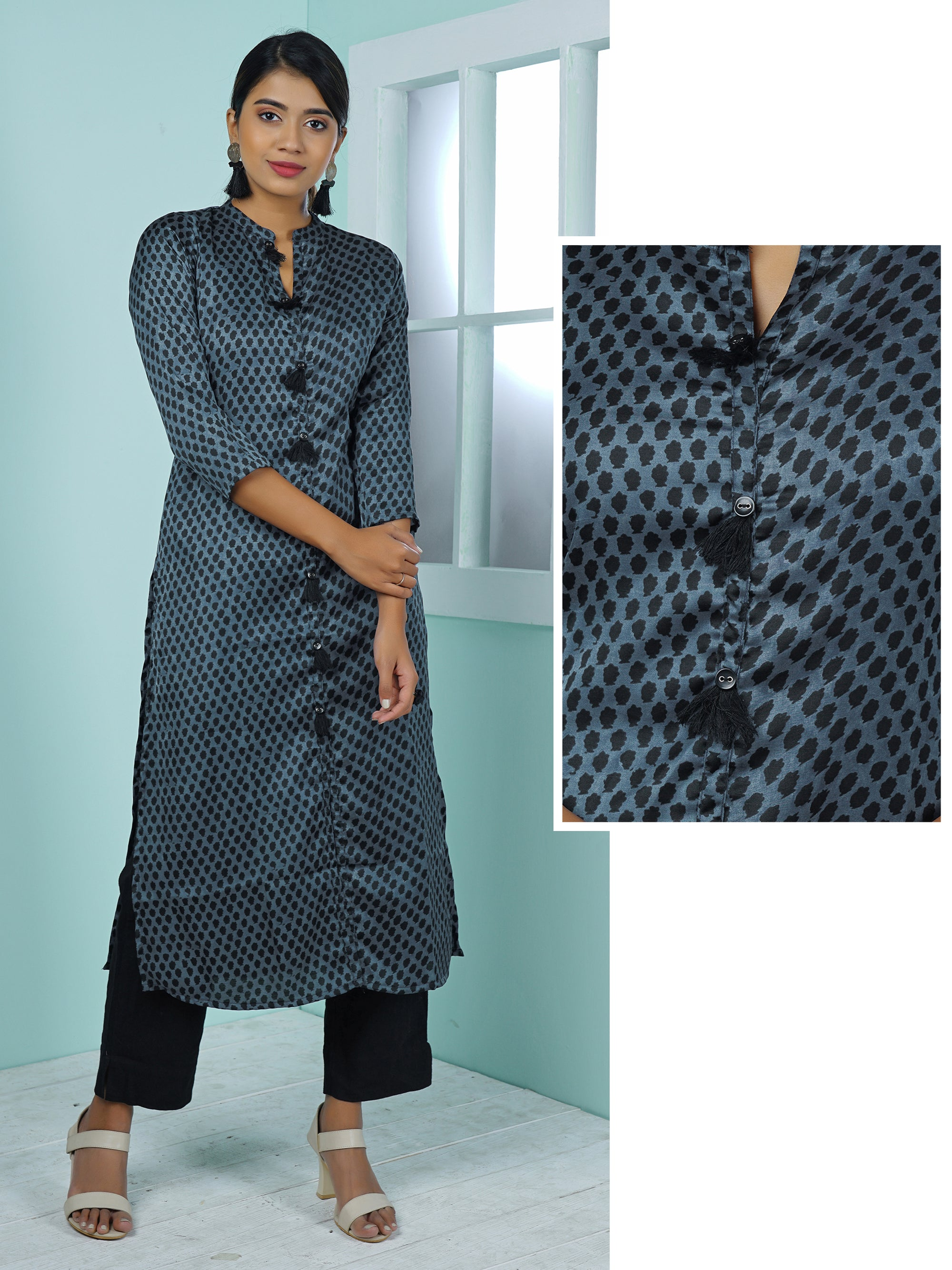 Abstract Motifs Printed & Tasseled Kurta