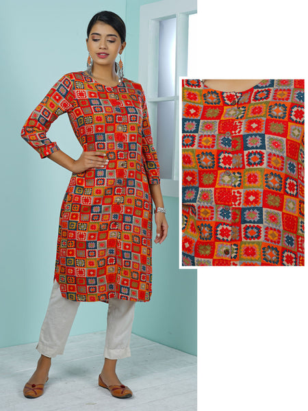 Abstract Chequered & Floral Printed Kurta - Red