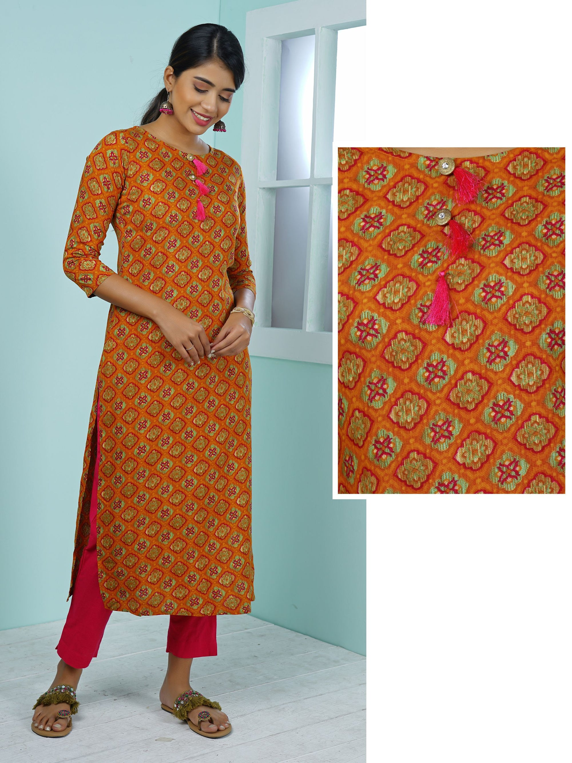 Abstract Geometric Tile Printed & Tasseled Kurta - Apricot Orange