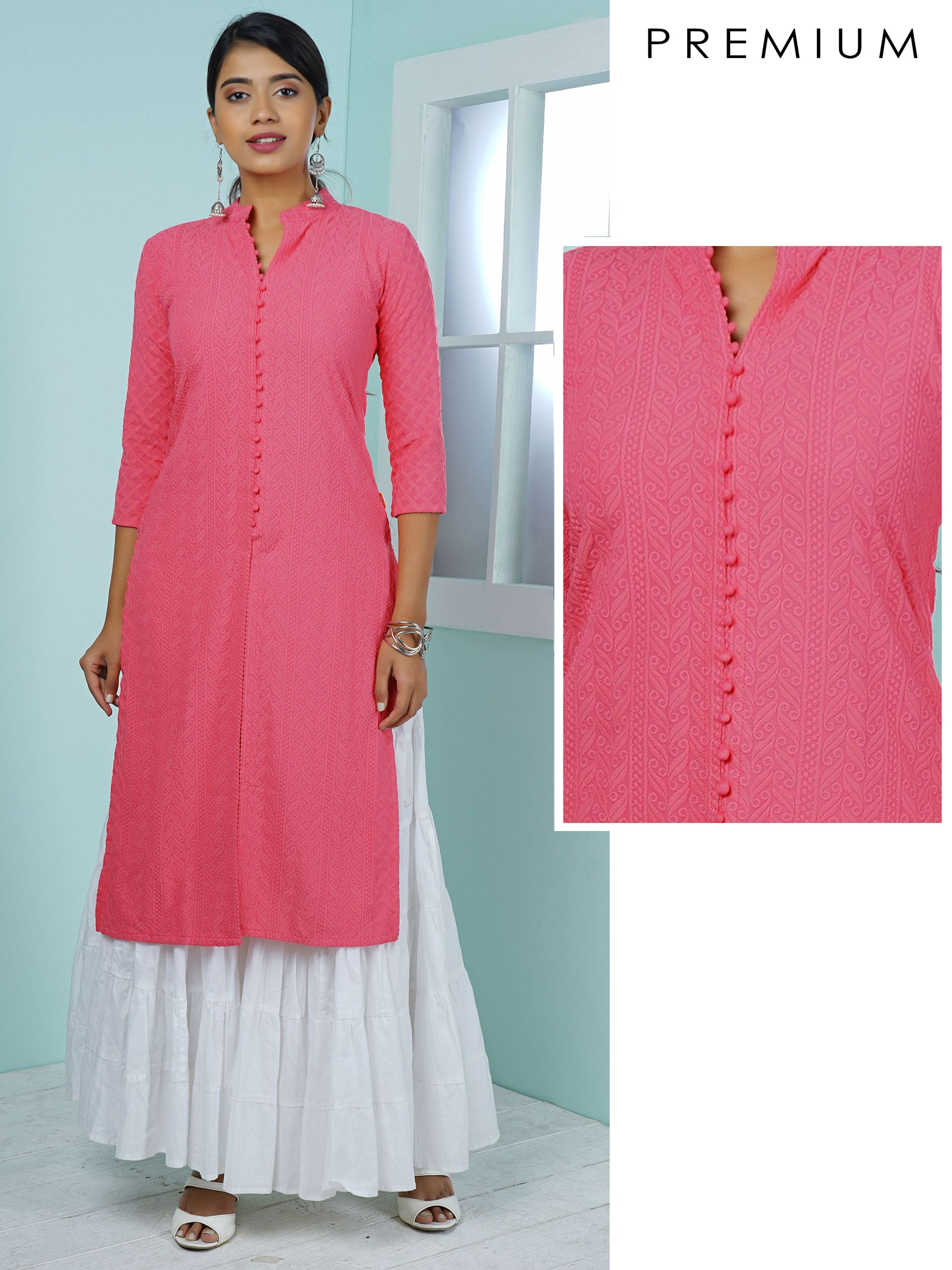 Mixed Pattern Embroidered Kurta - Candy Pink