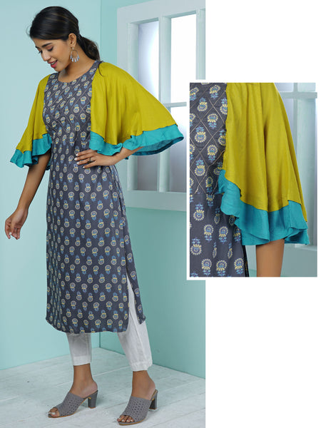 Abstract Floral Printed, Embroidered & Cape Sleeved Kurta