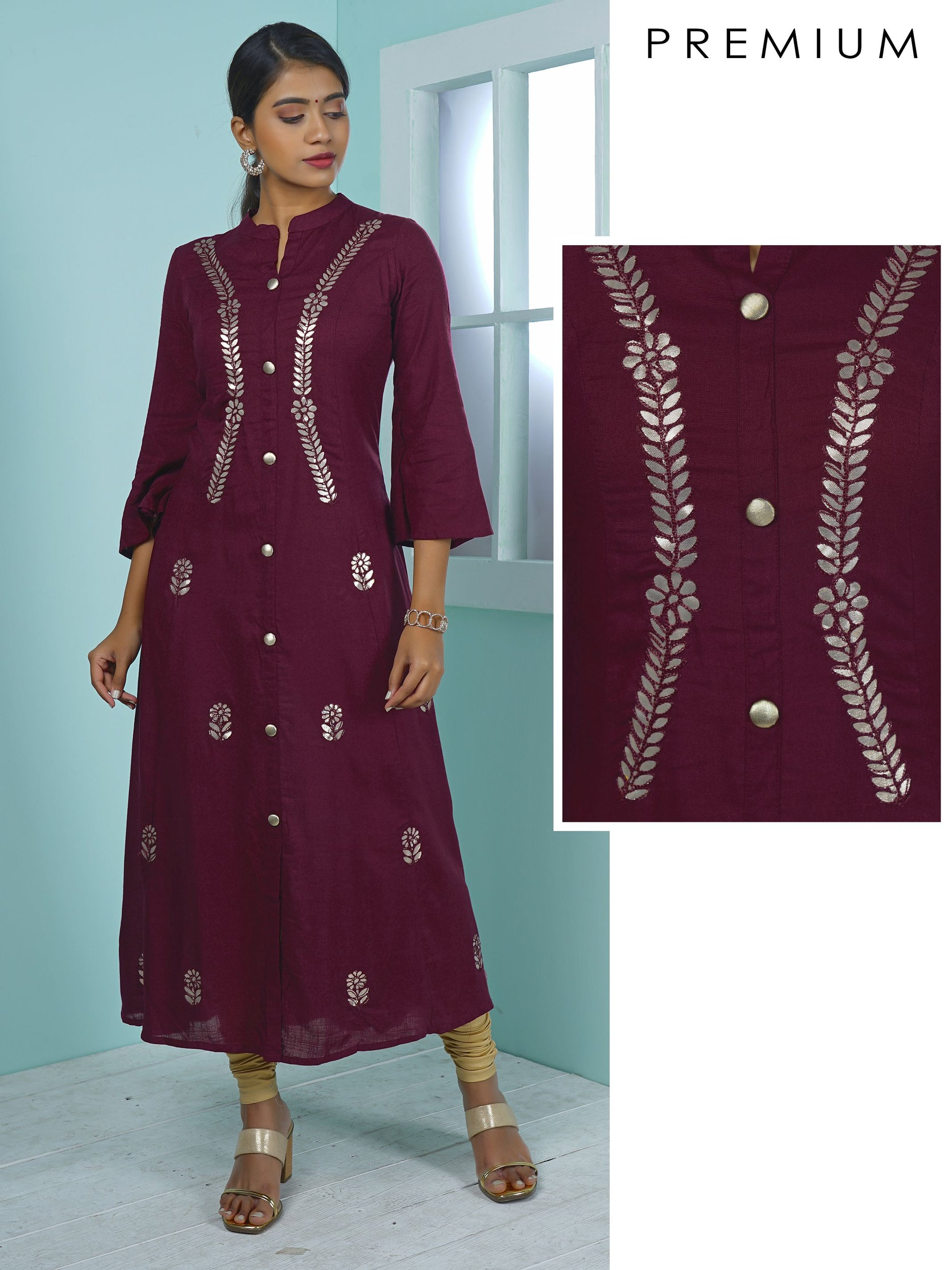 Leaf & Floral Gota Work Embroidered Kurta
