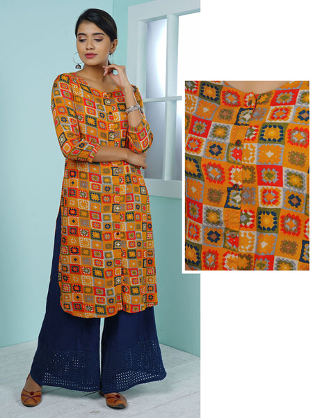 Abstract Chequered & Floral Printed Kurta - Yellow Ochre