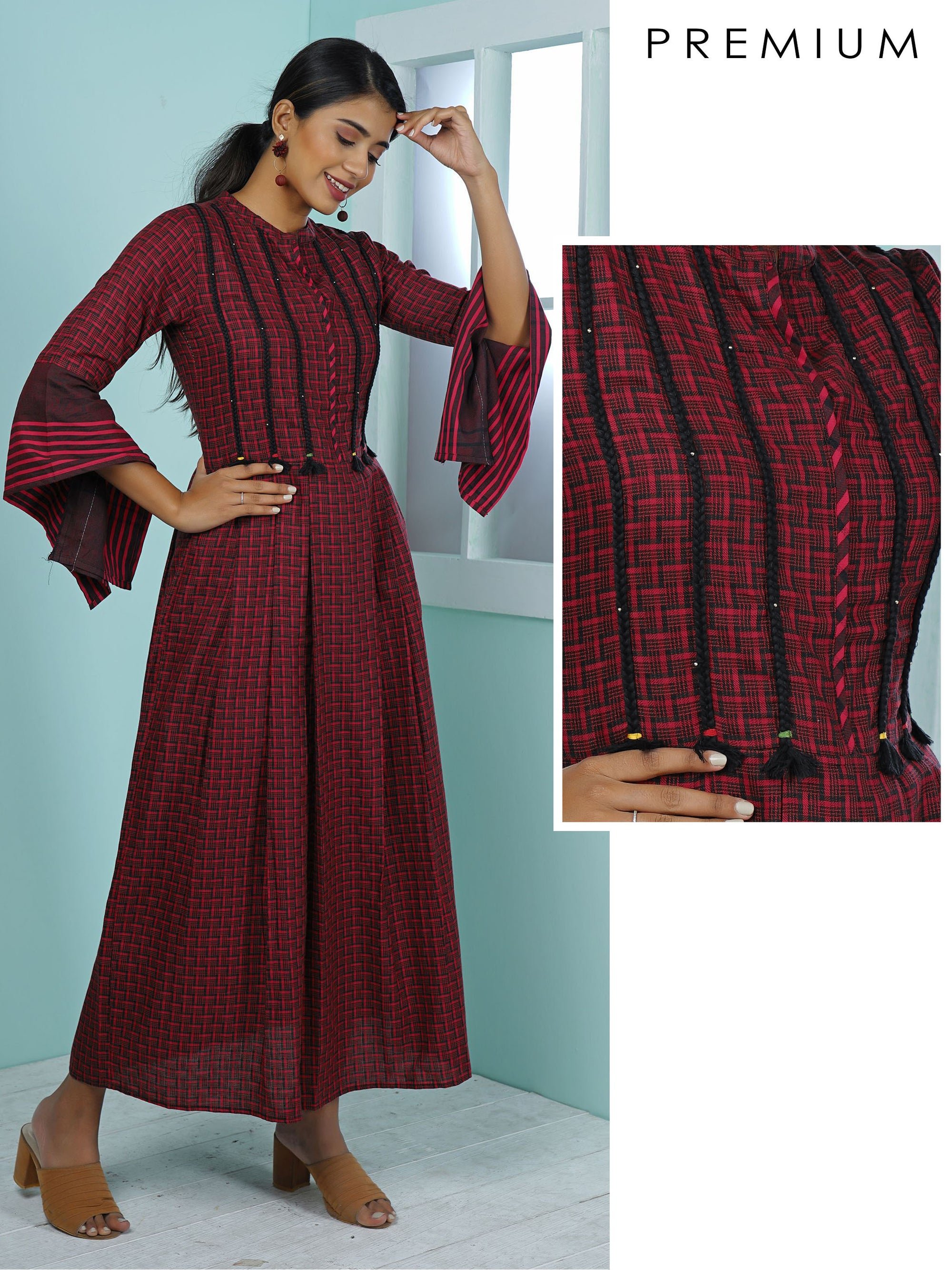 Abstract Woven Chequered & Braided Detailed Kurta