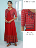 Resham & Foil MIrror Work Checkered Shrug & Khadi Printed Anarkali Kurti - Red