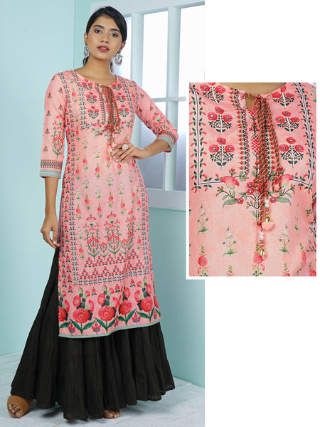Watercolor Style Mixed Floral Plant Printed & Embroidered Kurta