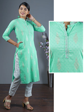 Ethnic Printed & Embroidered Dobby Woven Kurta – Sea Green