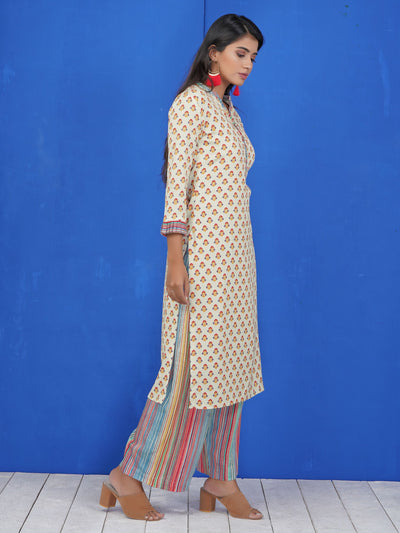 Crystal Buttoned Floral Print Kurti & Stripes Printed Palazzo Set