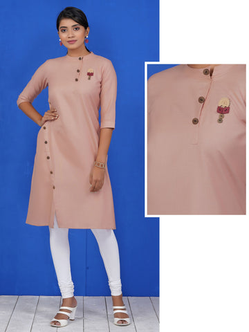 Wooden Cutwork Brooch & Button Work Asymmetric Placket Cotton Kurti