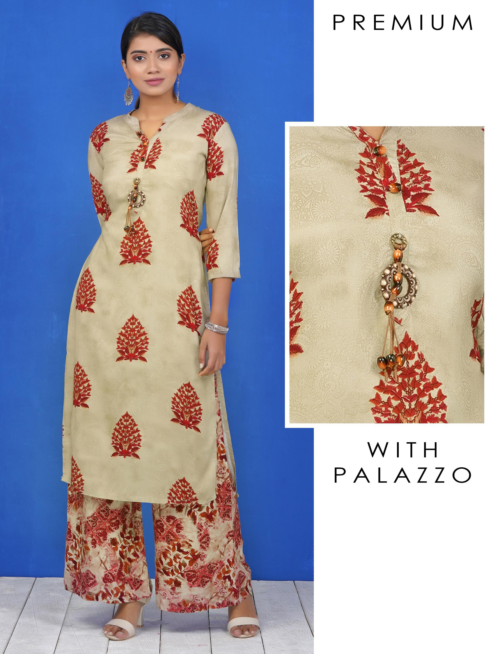 Beaded & Tasseled Brooch Studded Printed Kurti & Printed Palazzo set – Mustard Grey & Maroon