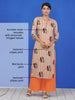 Kundan Work Wooden Brooch Studded Bird Buta Print Kurti & Palazzo Set - Orange