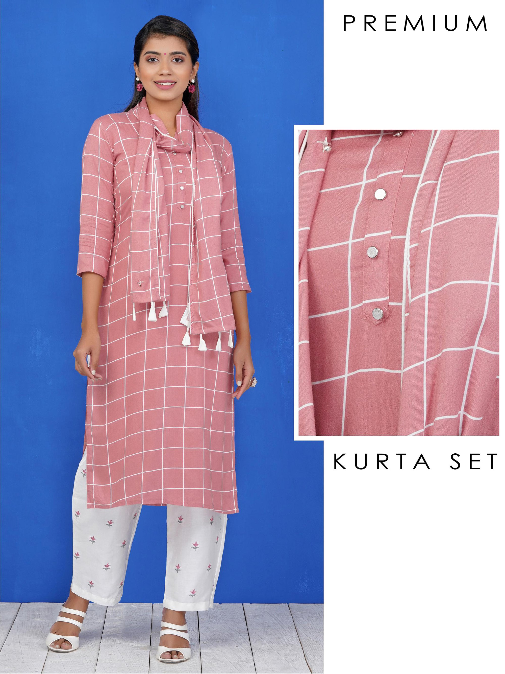 Checkered Kurti, Resham Work Pants & Checkered Ghungru & Tasseled Stole Set - Light Brown
