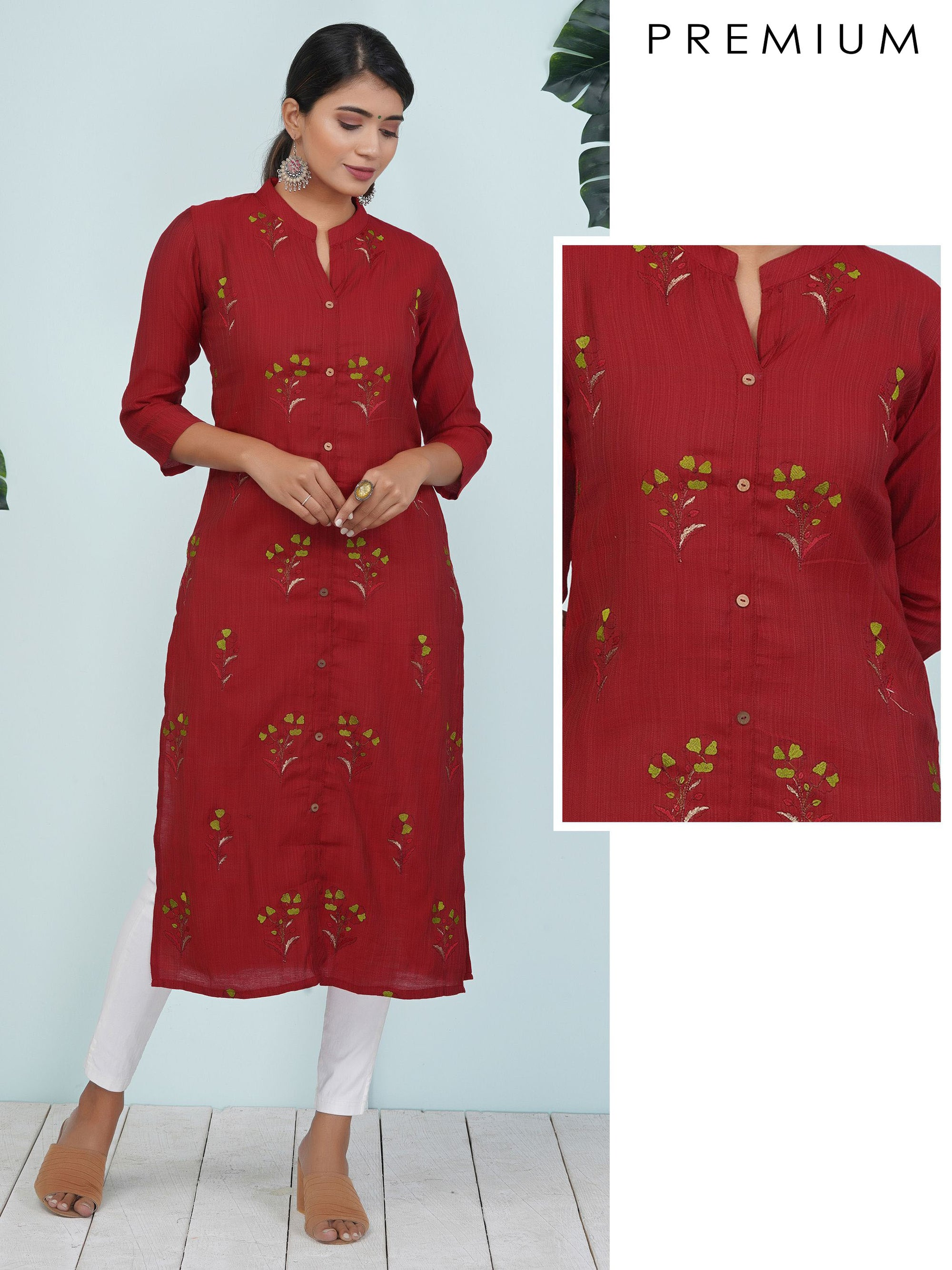 Resham & Zari Flower Buta Work Cotton-Twill Kurti – Maroon