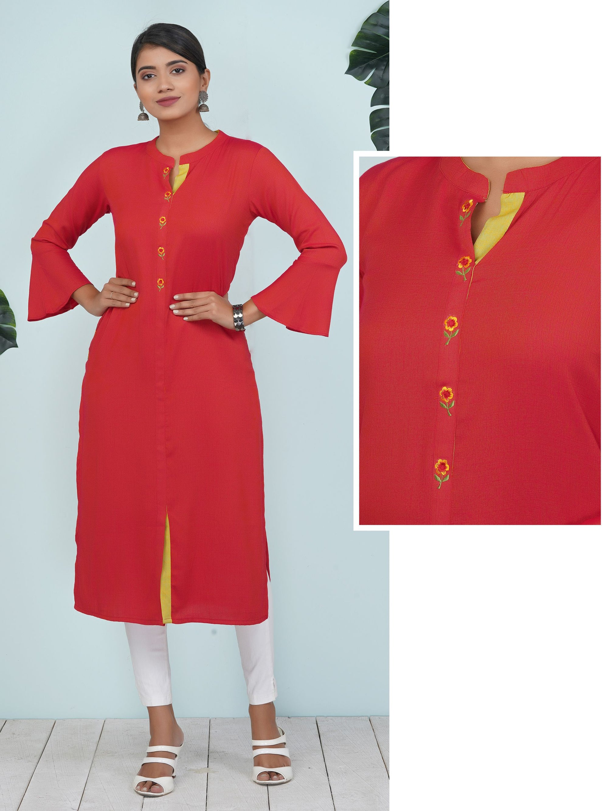 Resham Floral Buti Work Frill Sleeves Cotton Kurti
