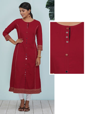 Mirror & Resham Work Block Printed Border Detailed Cotton Kurti