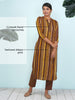 Cutwork Floral Brooches Studded Textured Striped Kurti – Brown