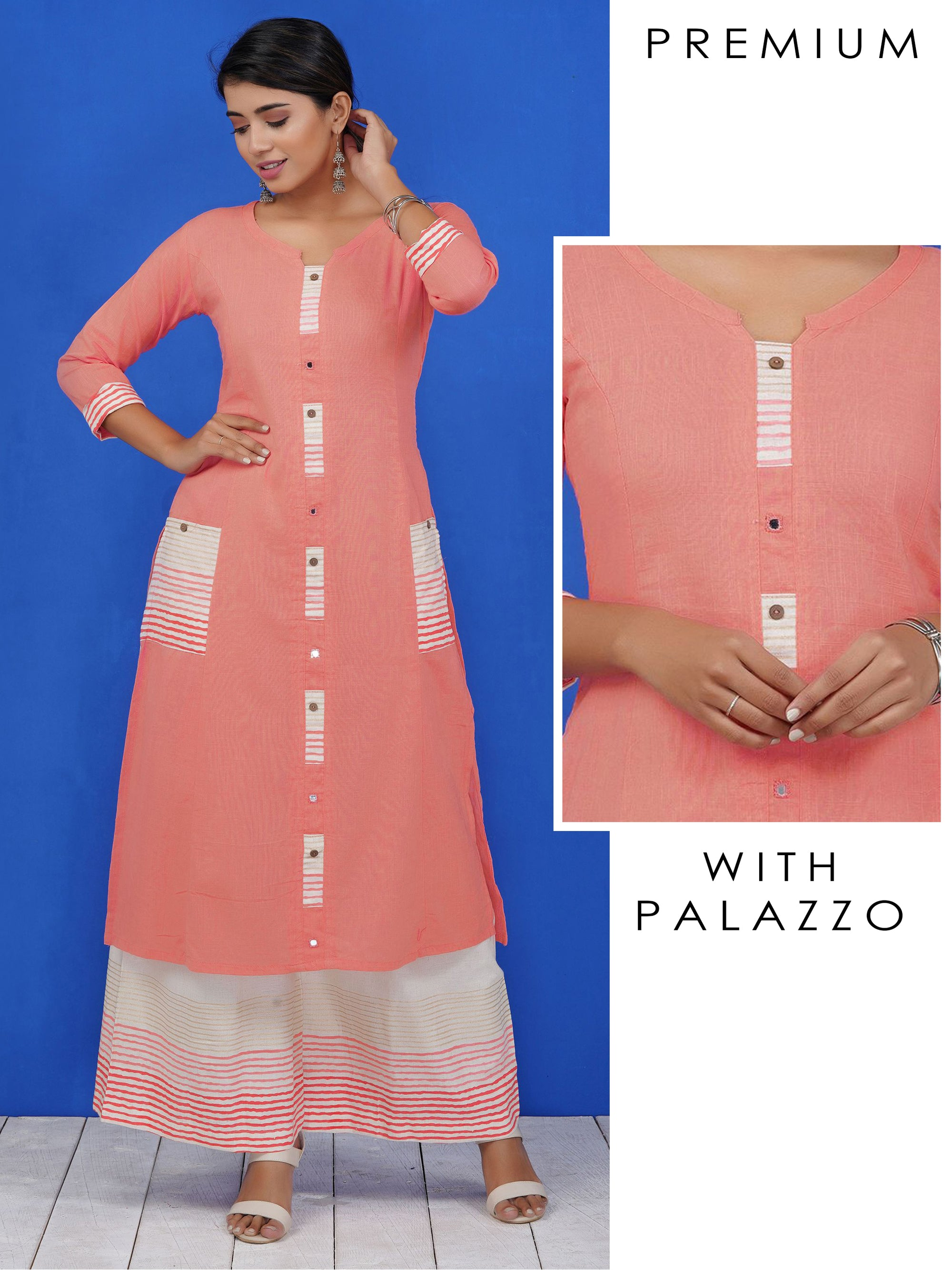 Mirror Work Khadi Printed Slub-Cotton Kurti & Khadi Print Palazzo Set
