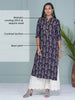 Ikkat printed and embroided cotton Kurti