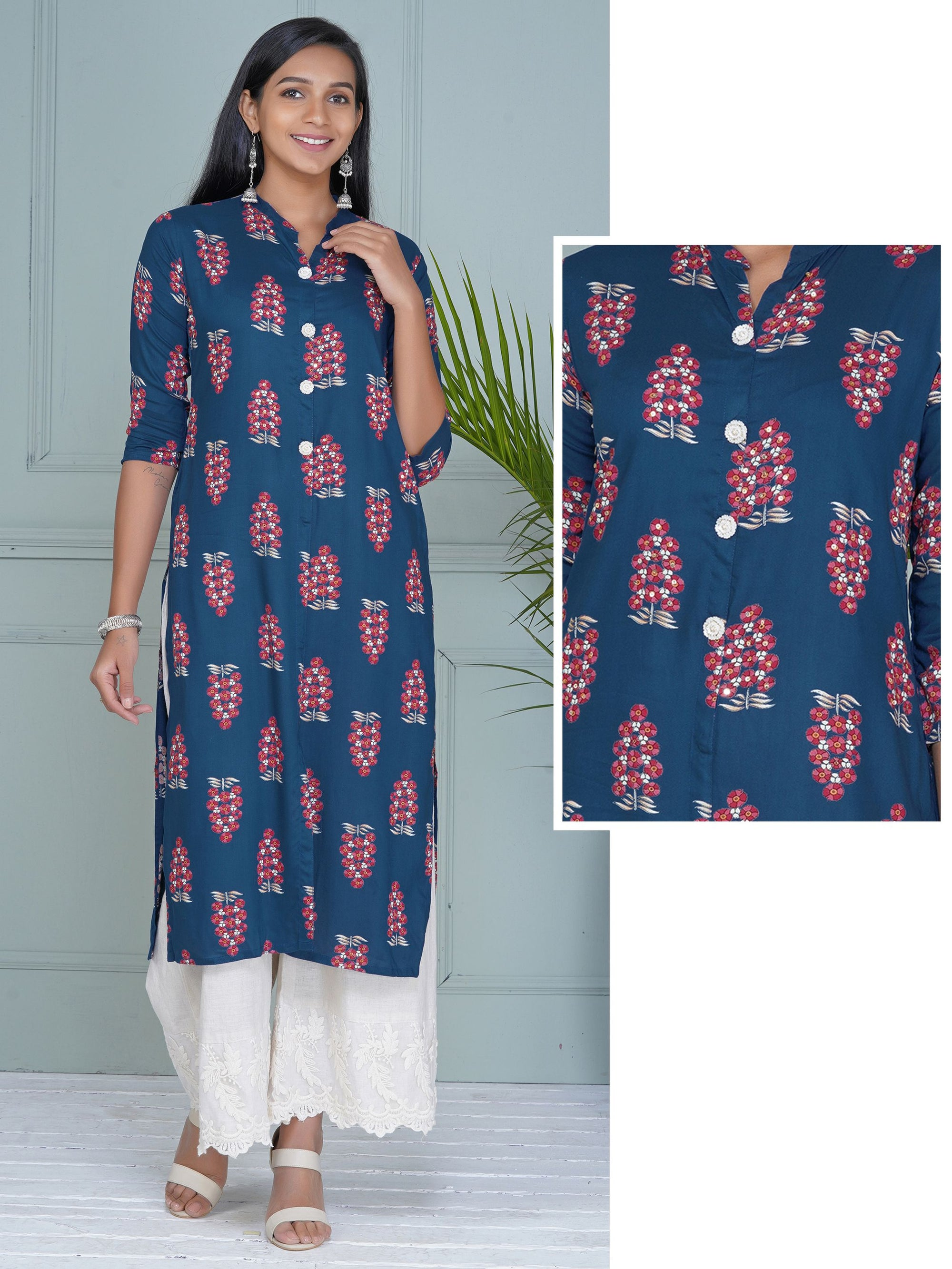 Sequins Work Emboss Rose Brooches Studded Printed Kurti - Blue