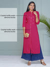 Crystal Hotfix Embroidered Kurti - Magenta