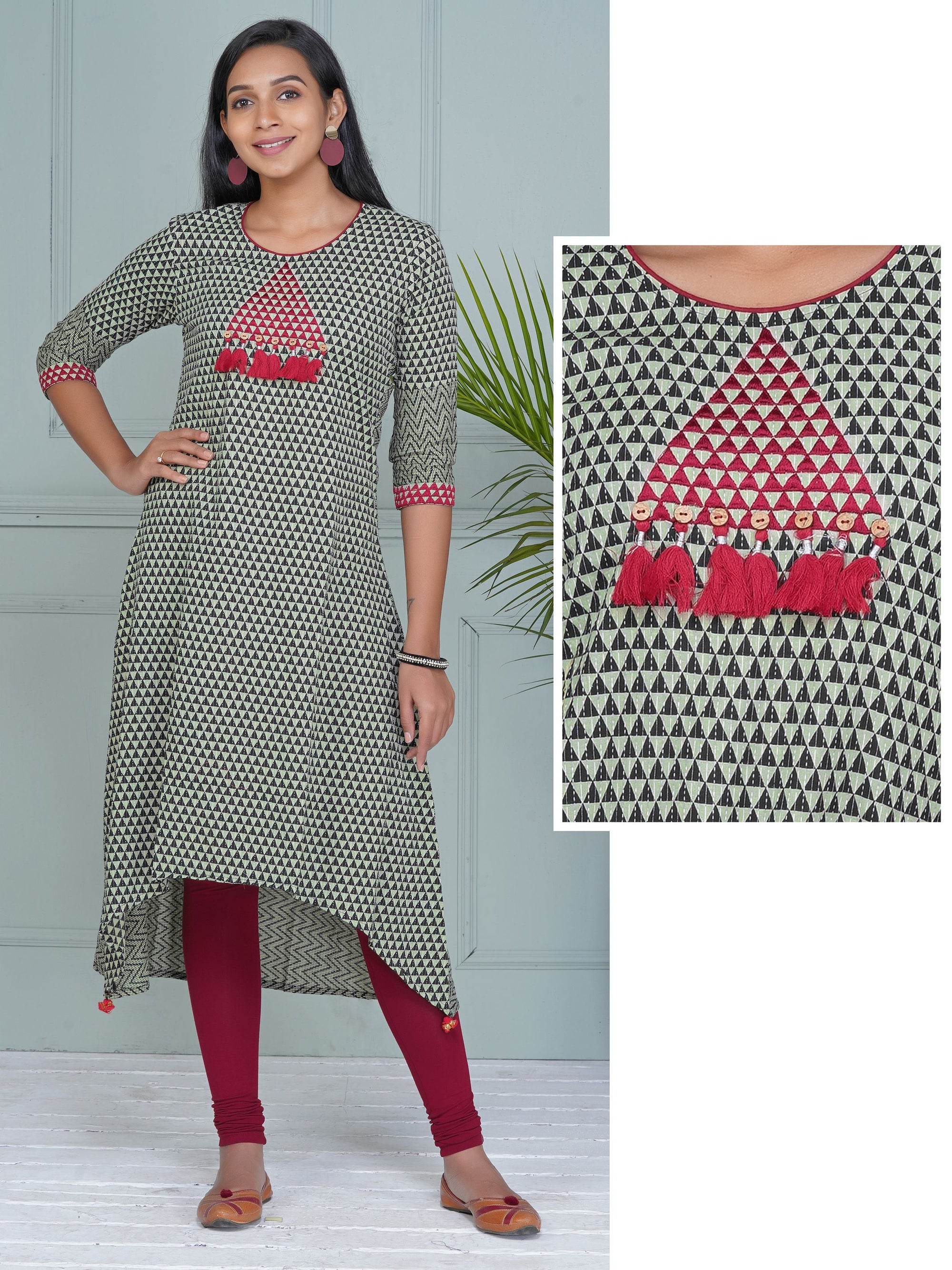 Resham Work Tassels Studded Asymmetric Hem Cotton Kurti