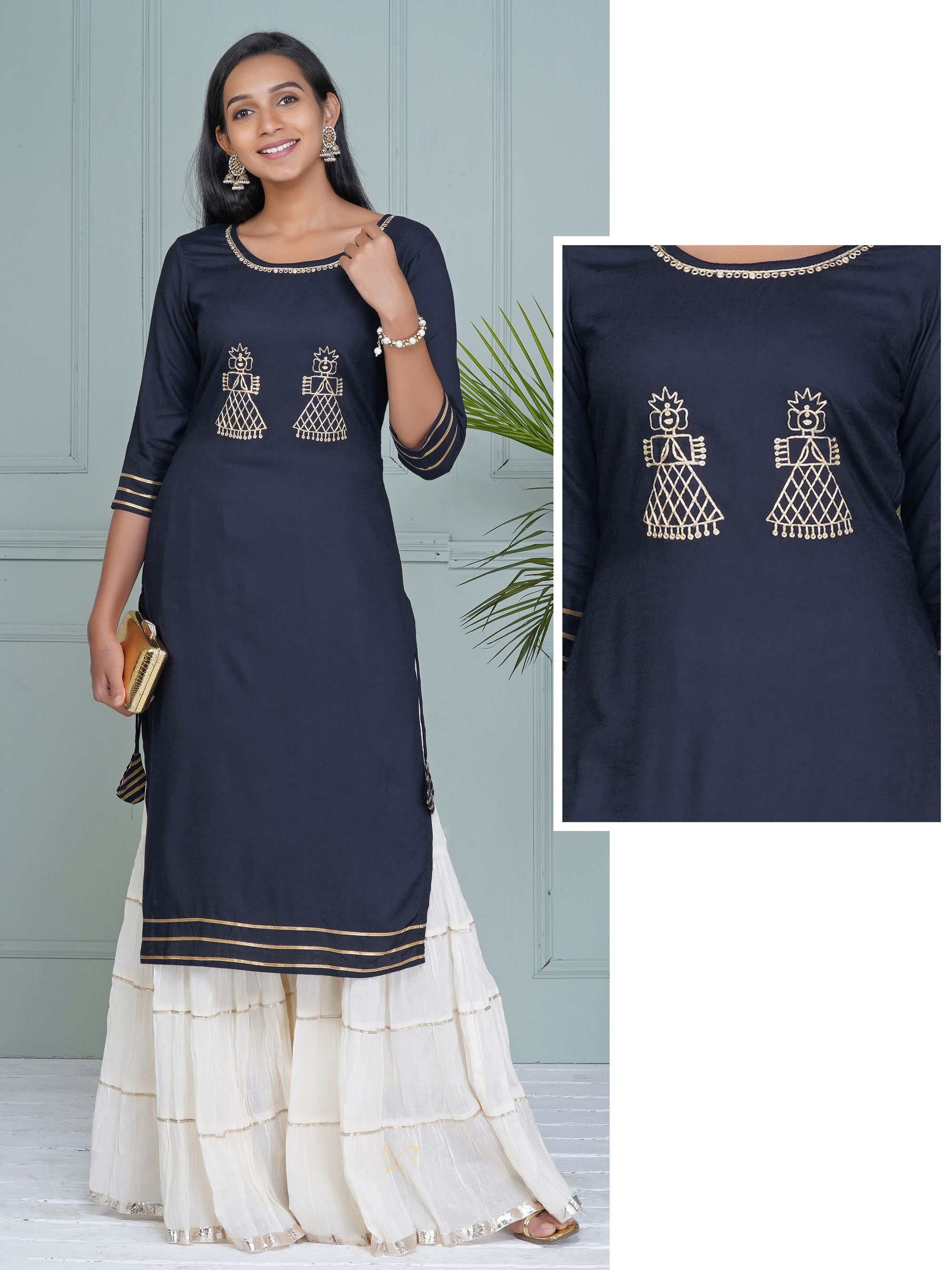 Zari Work Doll Buta & Gota Border Stripes Ornamented Kurti